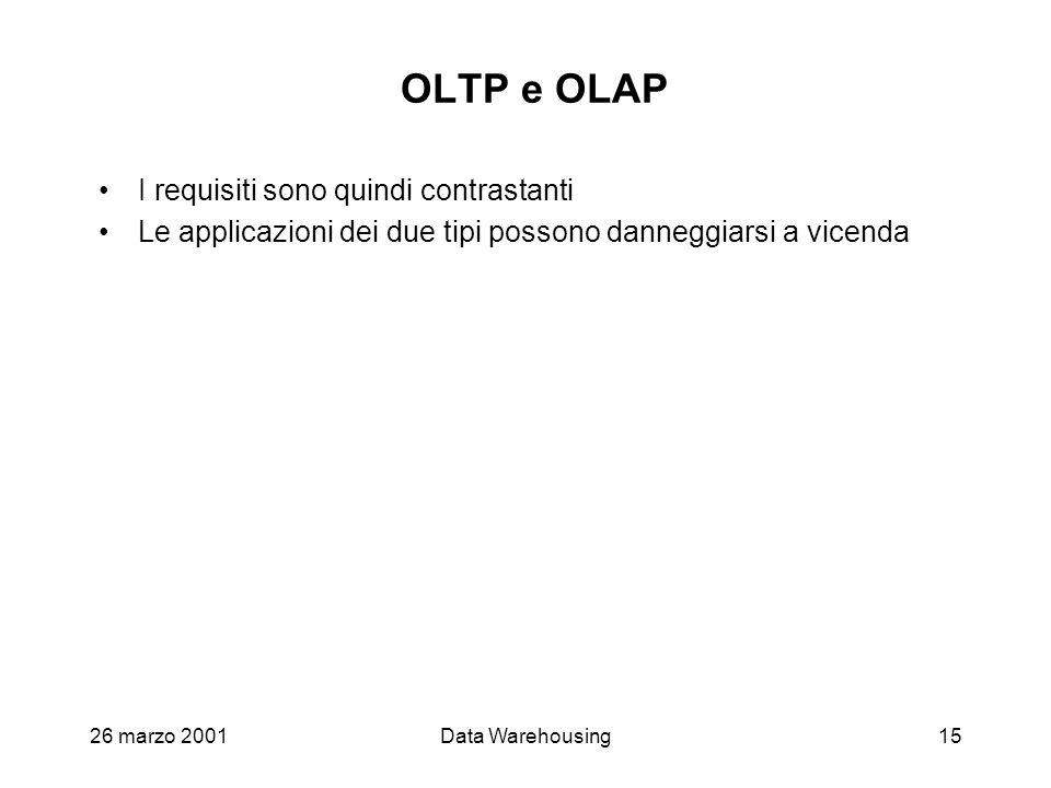 OLTP e OLAP I requisiti sono quindi contrastanti