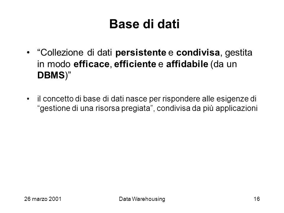 Base di dati Collezione di dati persistente e condivisa, gestita in modo efficace, efficiente e affidabile (da un DBMS)