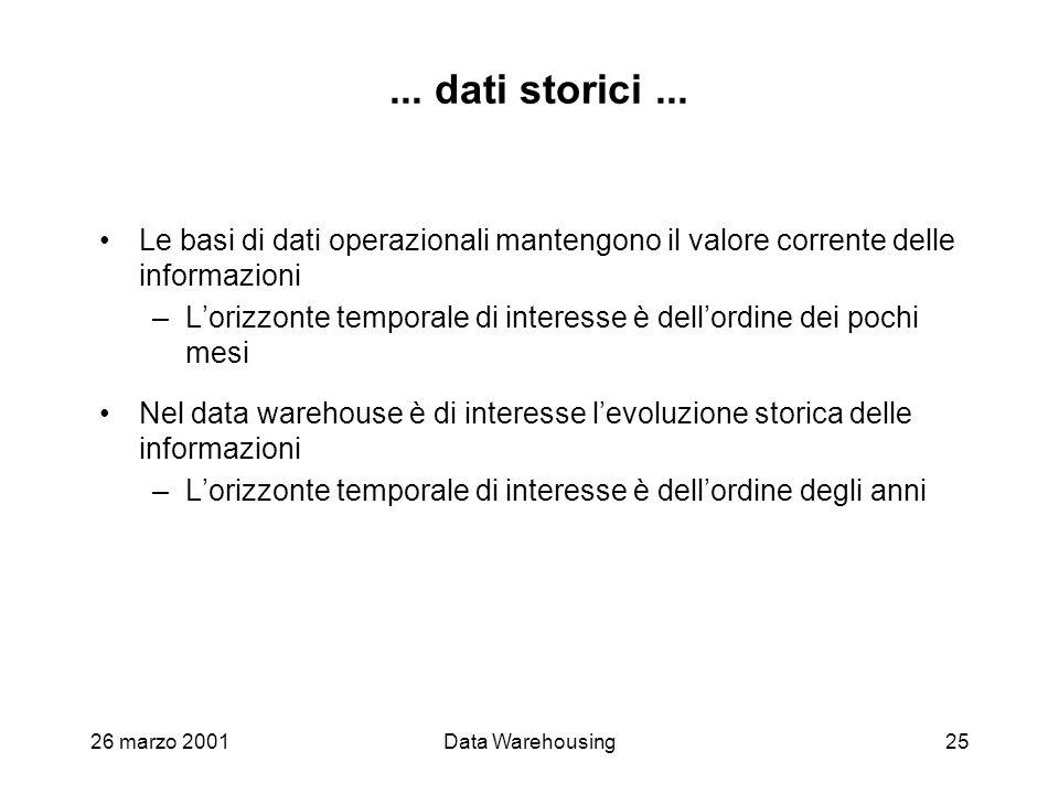 ... dati storici ... Le basi di dati operazionali mantengono il valore corrente delle informazioni.