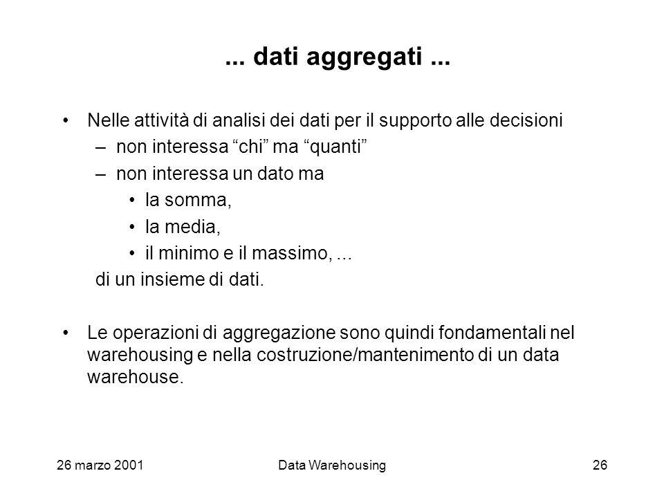 ... dati aggregati ... Nelle attività di analisi dei dati per il supporto alle decisioni. non interessa chi ma quanti