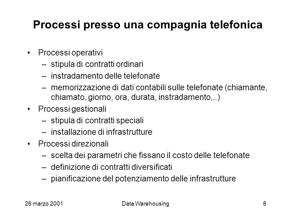 Processi presso una compagnia telefonica