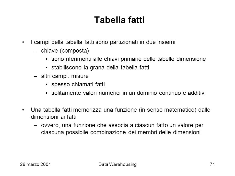 Tabella fatti I campi della tabella fatti sono partizionati in due insiemi. chiave (composta)