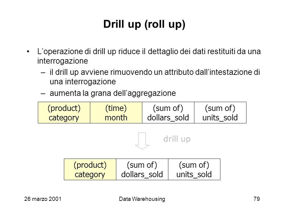 Drill up (roll up) L'operazione di drill up riduce il dettaglio dei dati restituiti da una interrogazione.