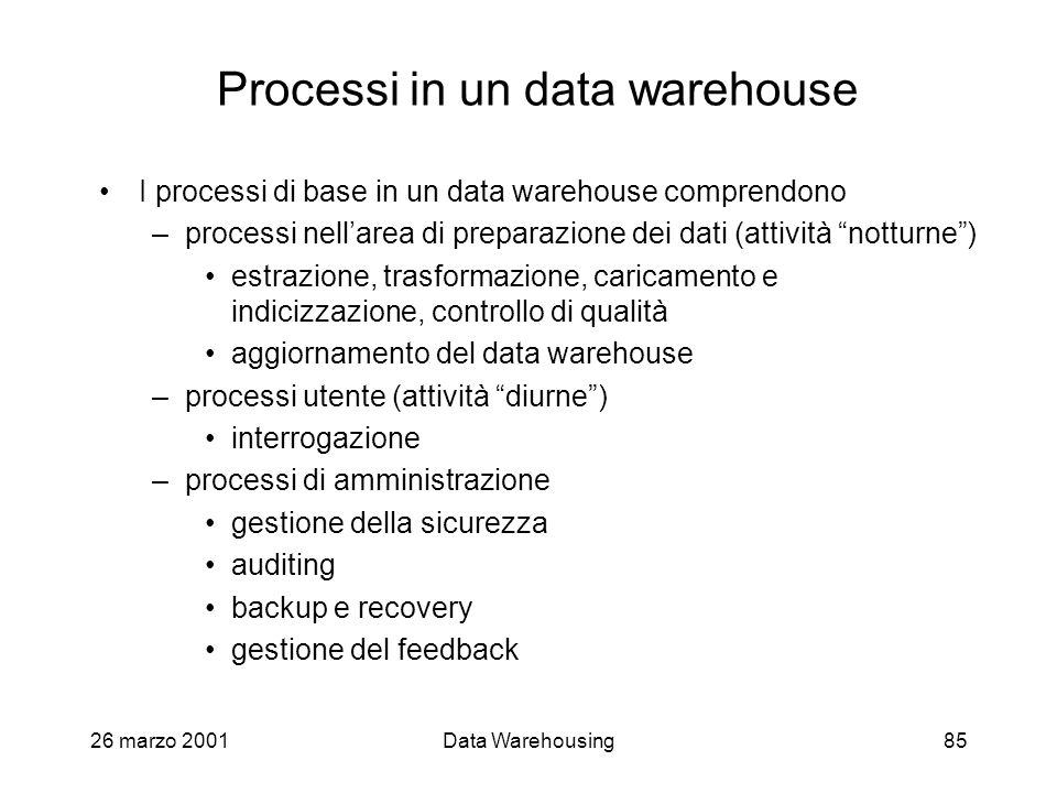 Processi in un data warehouse