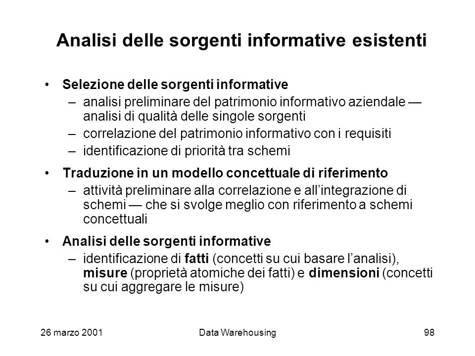 Analisi delle sorgenti informative esistenti