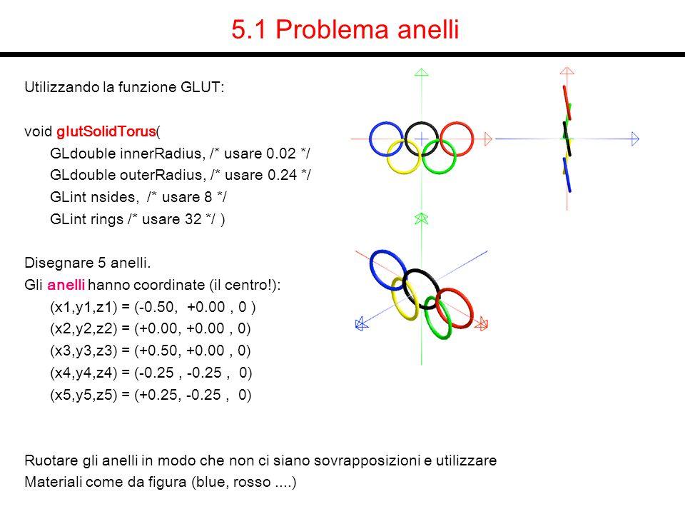 5.1 Problema anelli Utilizzando la funzione GLUT: void glutSolidTorus(