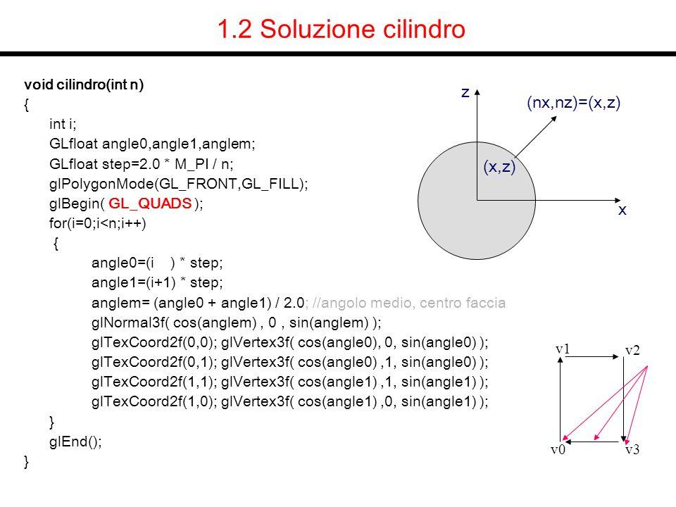 1.2 Soluzione cilindro z (nx,nz)=(x,z) (x,z) x void cilindro(int n) {