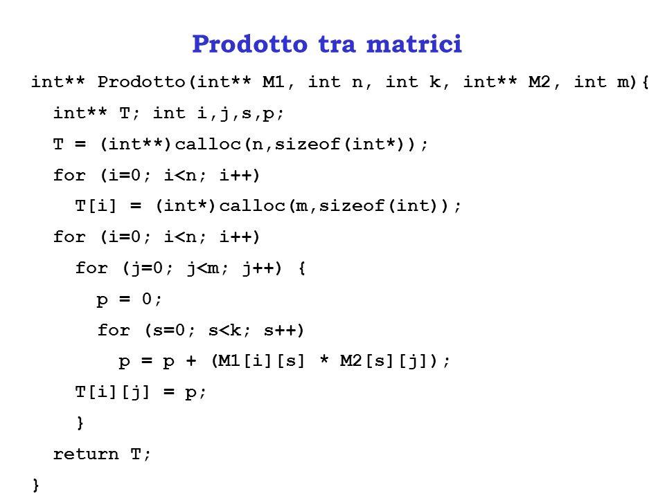 Prodotto tra matrici int** Prodotto(int** M1, int n, int k, int** M2, int m){ int** T; int i,j,s,p;