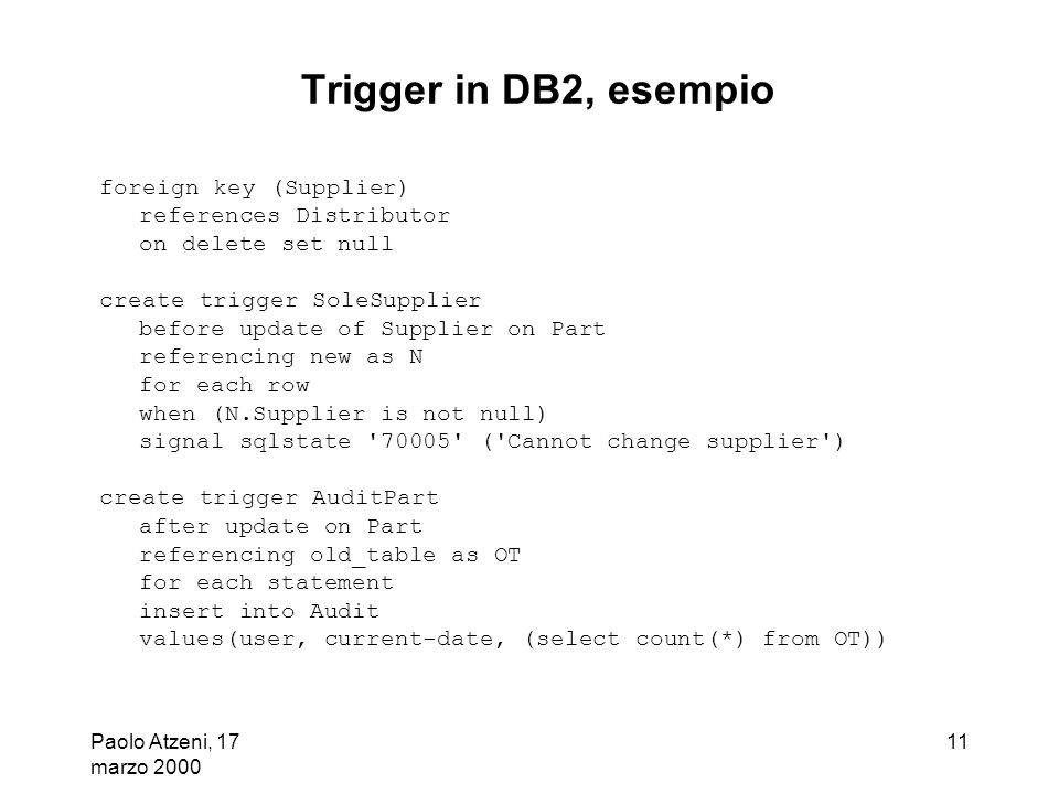 Trigger in DB2, esempio foreign key (Supplier) references Distributor