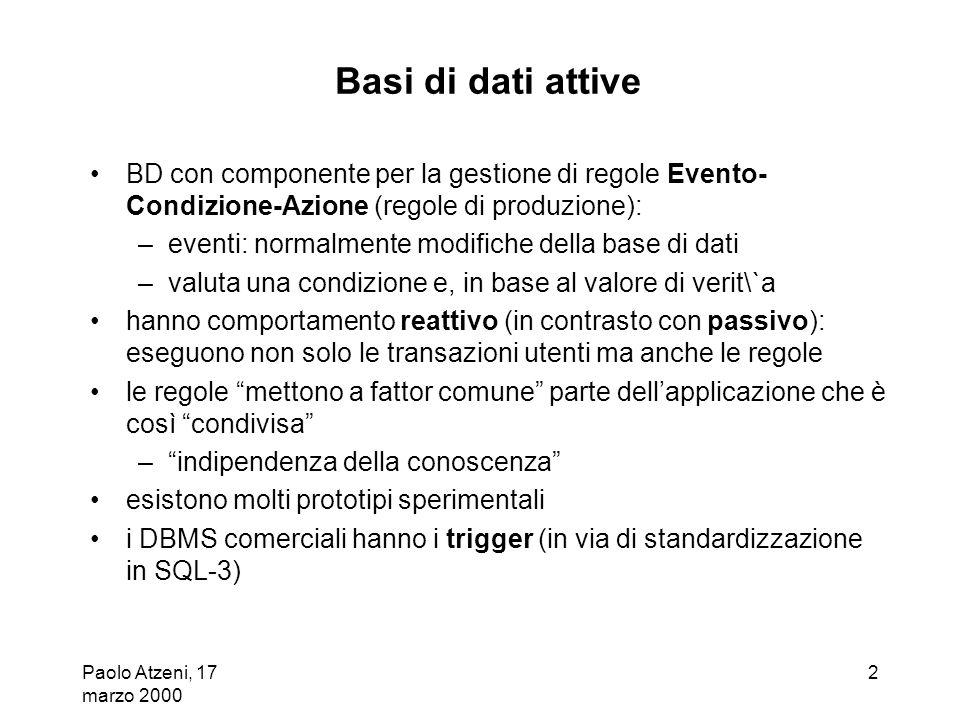 Basi di dati attive BD con componente per la gestione di regole Evento-Condizione-Azione (regole di produzione):