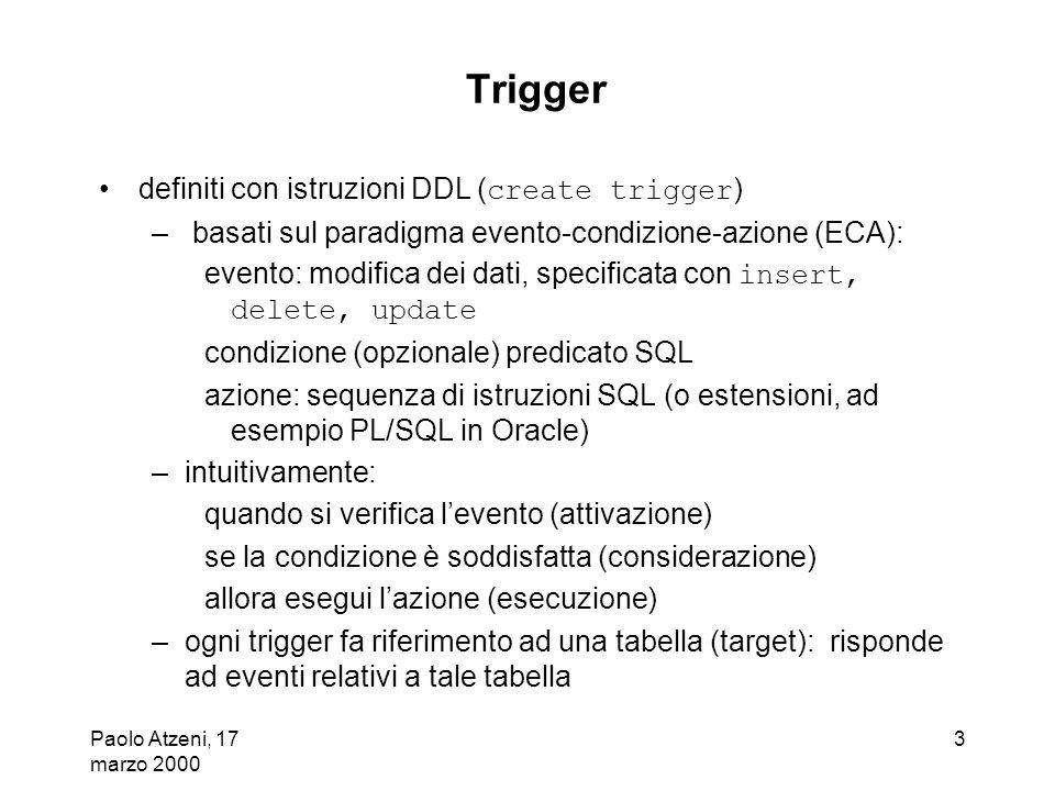 Trigger definiti con istruzioni DDL (create trigger)
