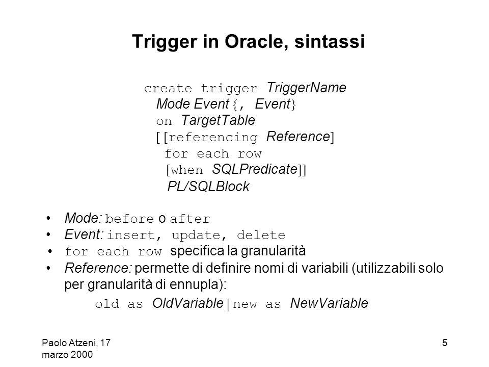 Trigger in Oracle, sintassi