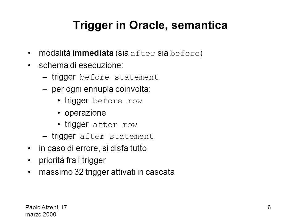 Trigger in Oracle, semantica