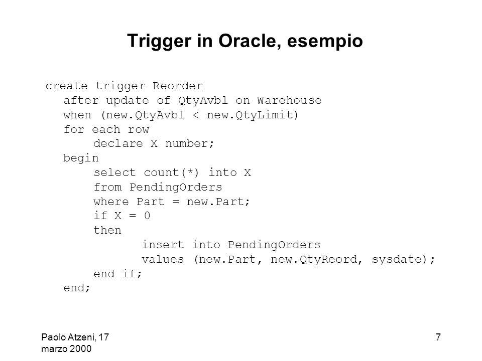 Trigger in Oracle, esempio