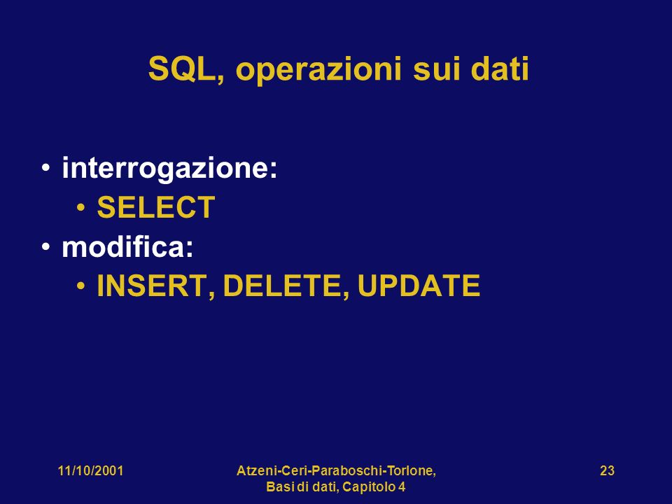SQL, operazioni sui dati