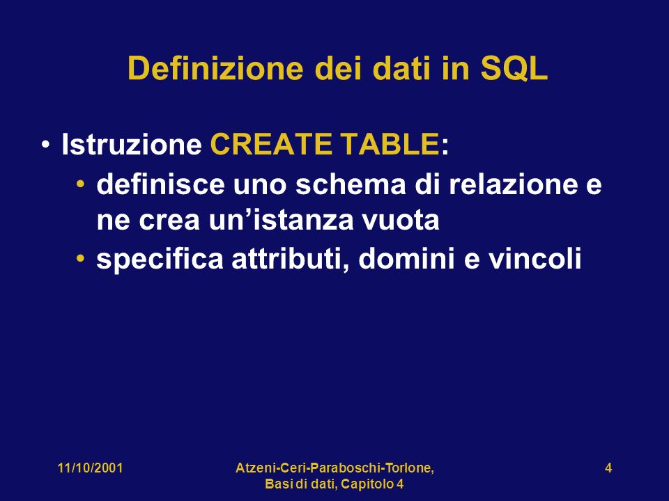 Definizione dei dati in SQL