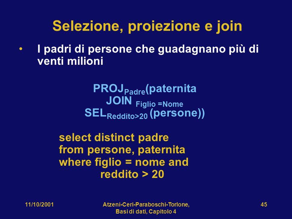 Selezione, proiezione e join