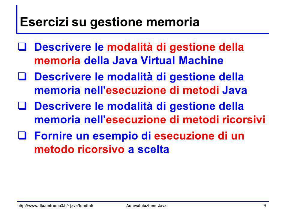 Esercizi su gestione memoria