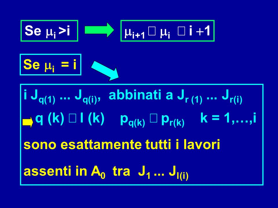 Se mi >i mi+1 ³ mi ³ i +1. Se mi = i. i Jq(1) ... Jq(i), abbinati a Jr (1) ... Jr(i)