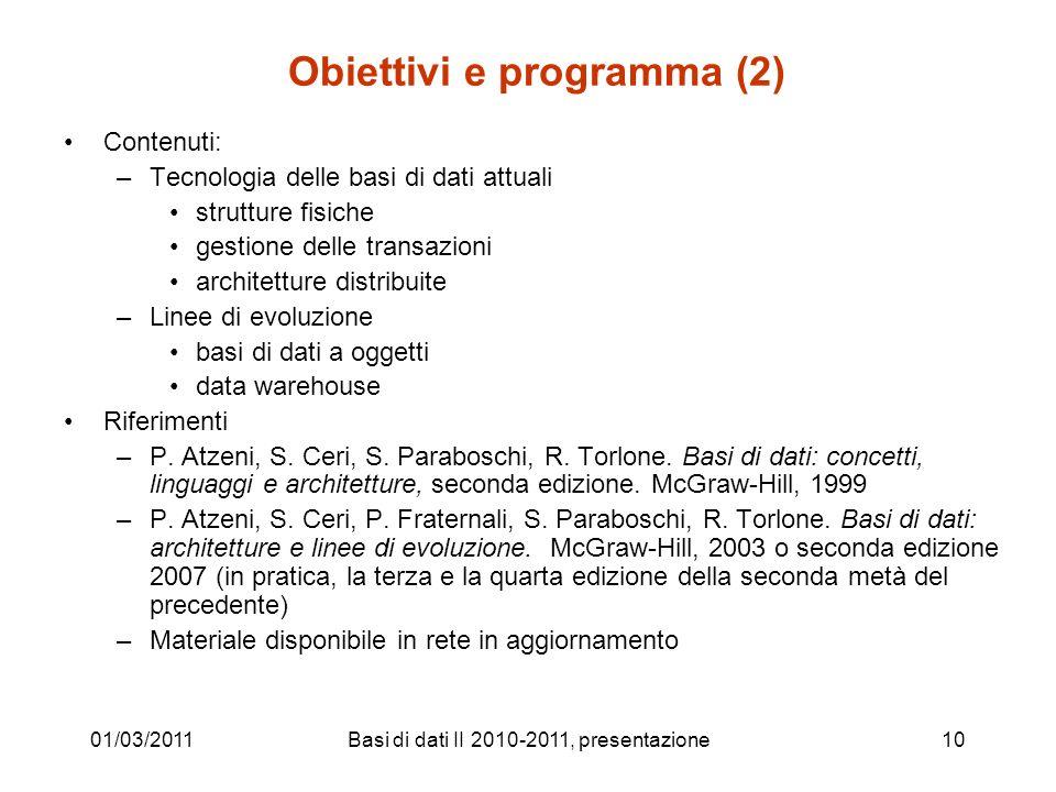 Obiettivi e programma (2)