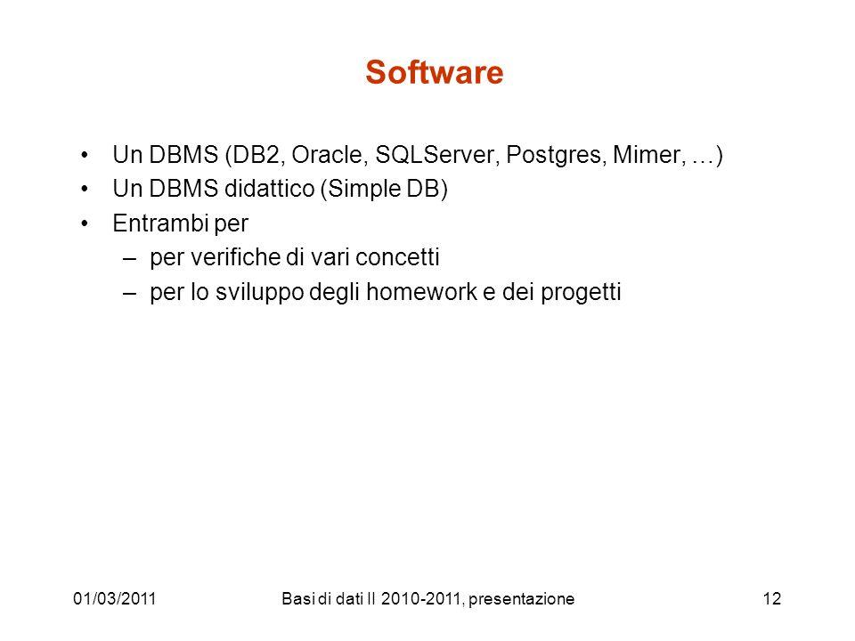 Basi di dati II 2010-2011, presentazione