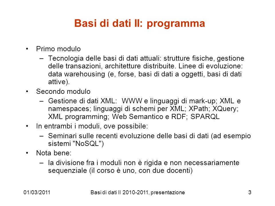Basi di dati II: programma