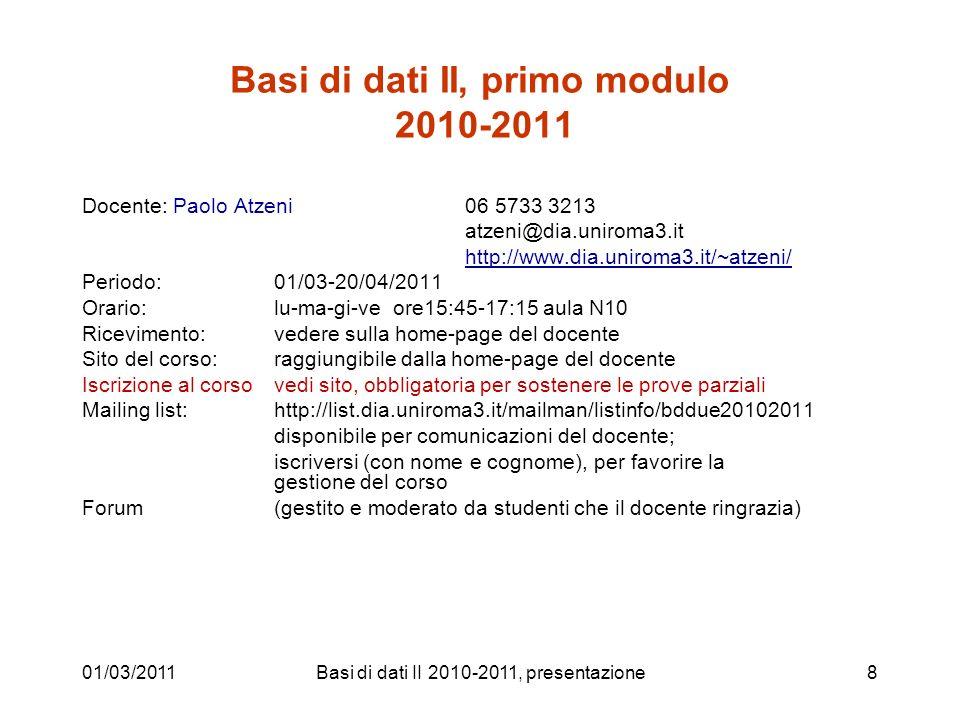 Basi di dati II, primo modulo 2010-2011