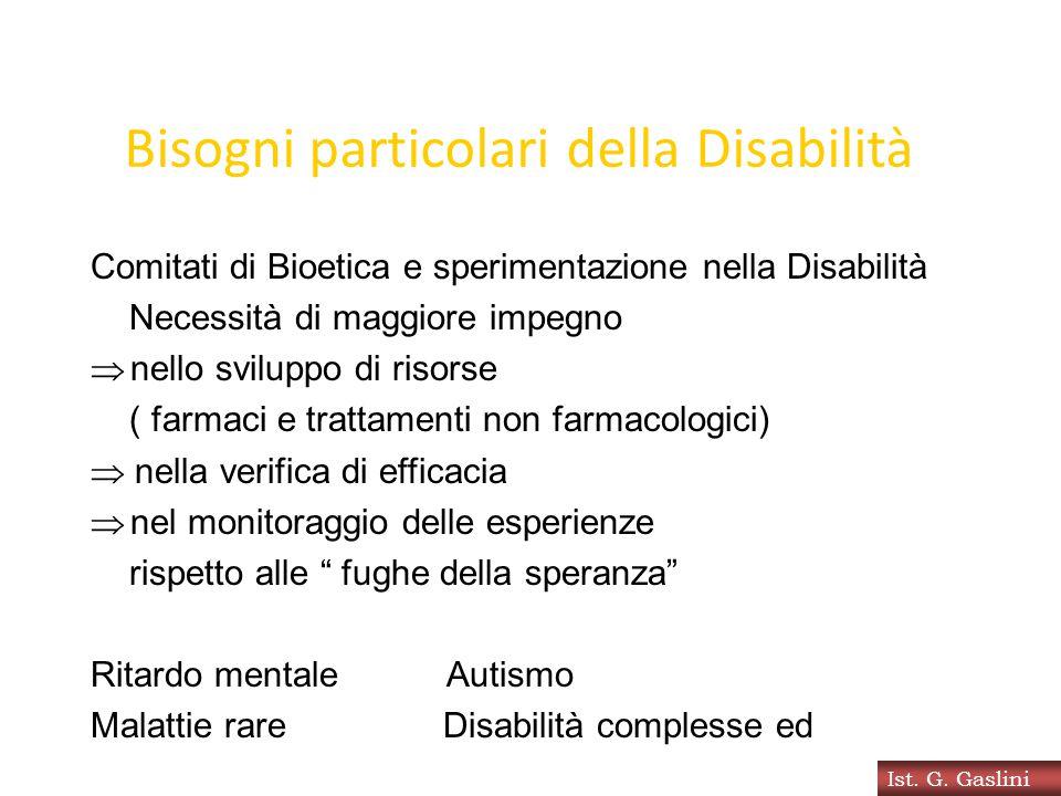 Bisogni particolari della Disabilità