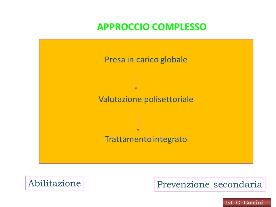 APPROCCIO COMPLESSO Presa in carico globale Valutazione polisettoriale