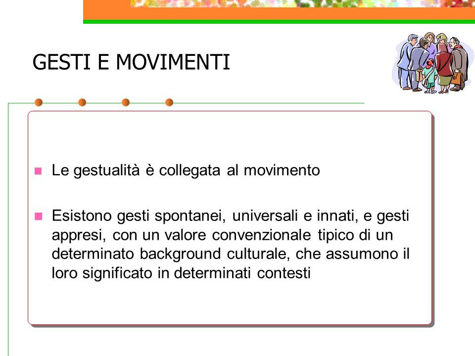 GESTI E MOVIMENTI Le gestualità è collegata al movimento