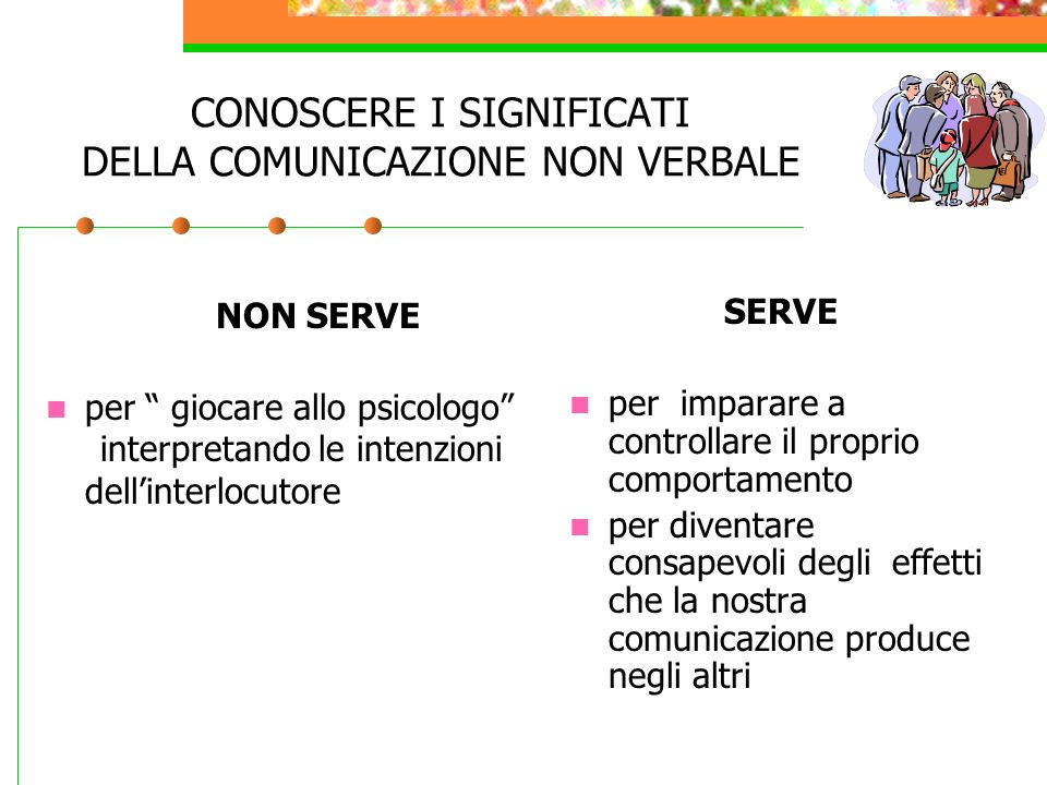CONOSCERE I SIGNIFICATI DELLA COMUNICAZIONE NON VERBALE