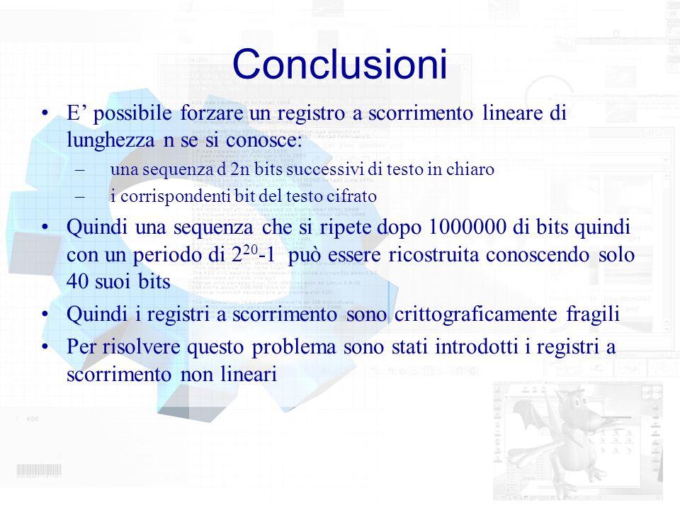 Conclusioni E' possibile forzare un registro a scorrimento lineare di lunghezza n se si conosce: