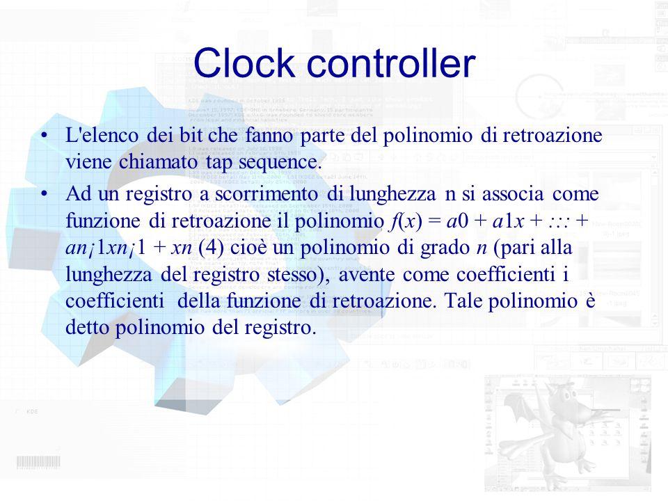 Clock controllerL elenco dei bit che fanno parte del polinomio di retroazione viene chiamato tap sequence.