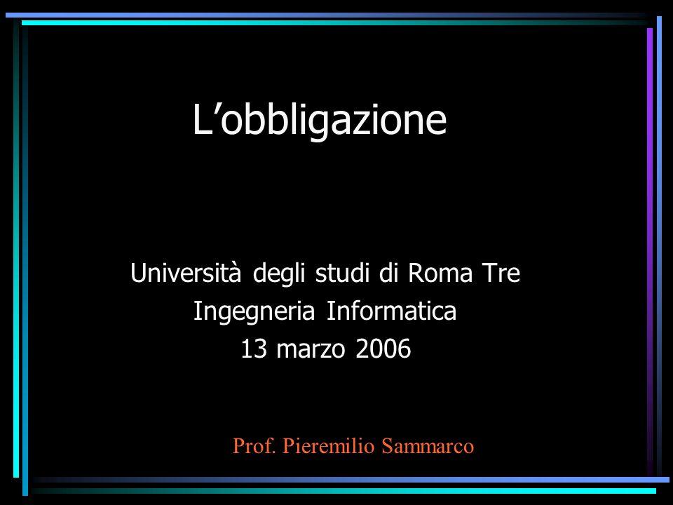 L'obbligazione Università degli studi di Roma Tre