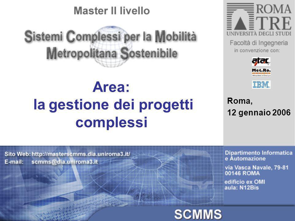 Area: la gestione dei progetti complessi