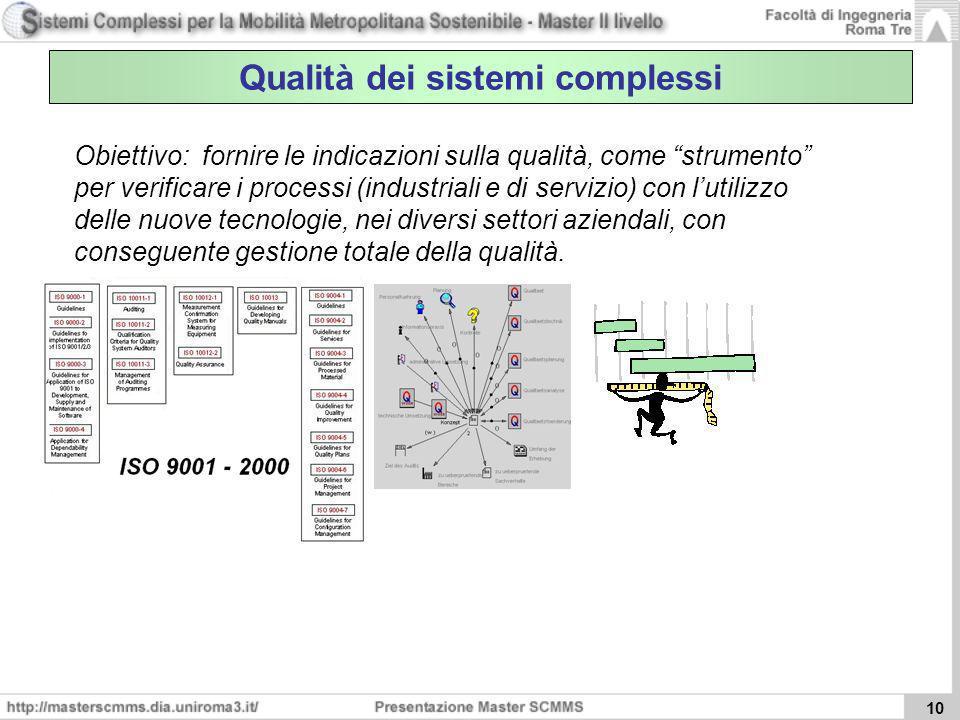 Qualità dei sistemi complessi