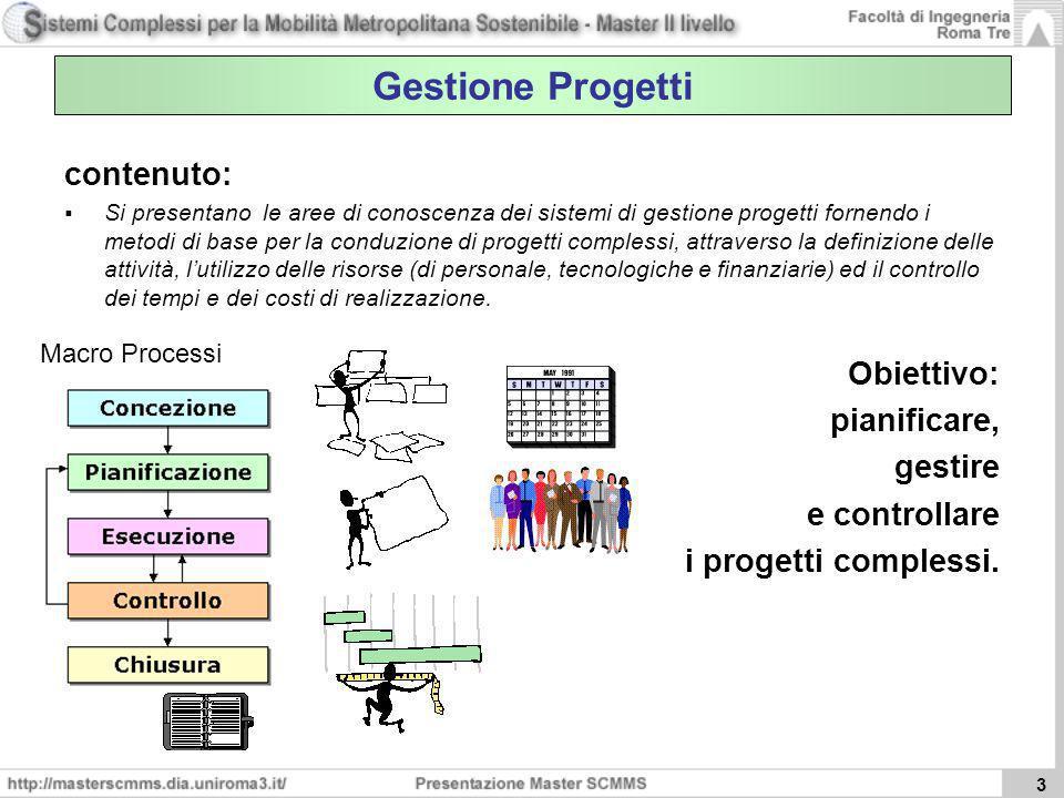 Gestione Progetti contenuto: Obiettivo: pianificare, gestire