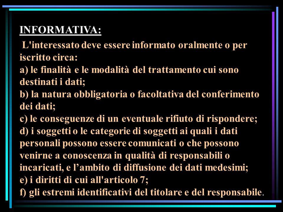 INFORMATIVA:L interessato deve essere informato oralmente o per iscritto circa: