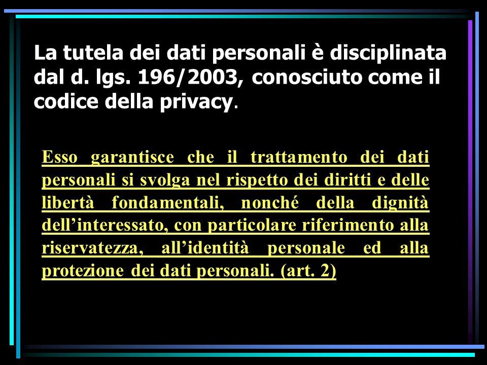 La tutela dei dati personali è disciplinata dal d. lgs