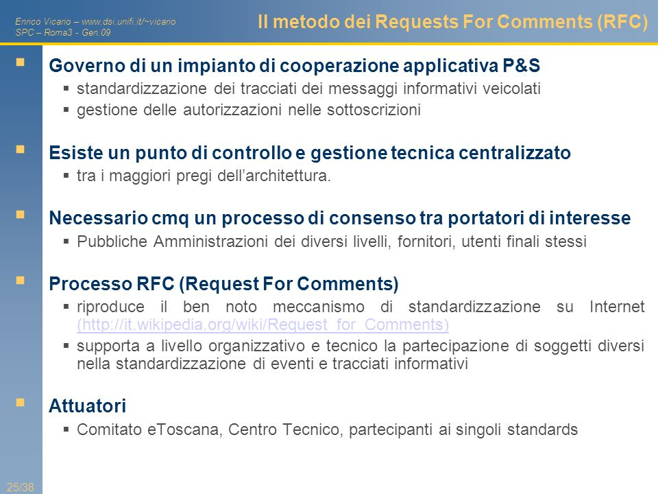 Il metodo dei Requests For Comments (RFC)
