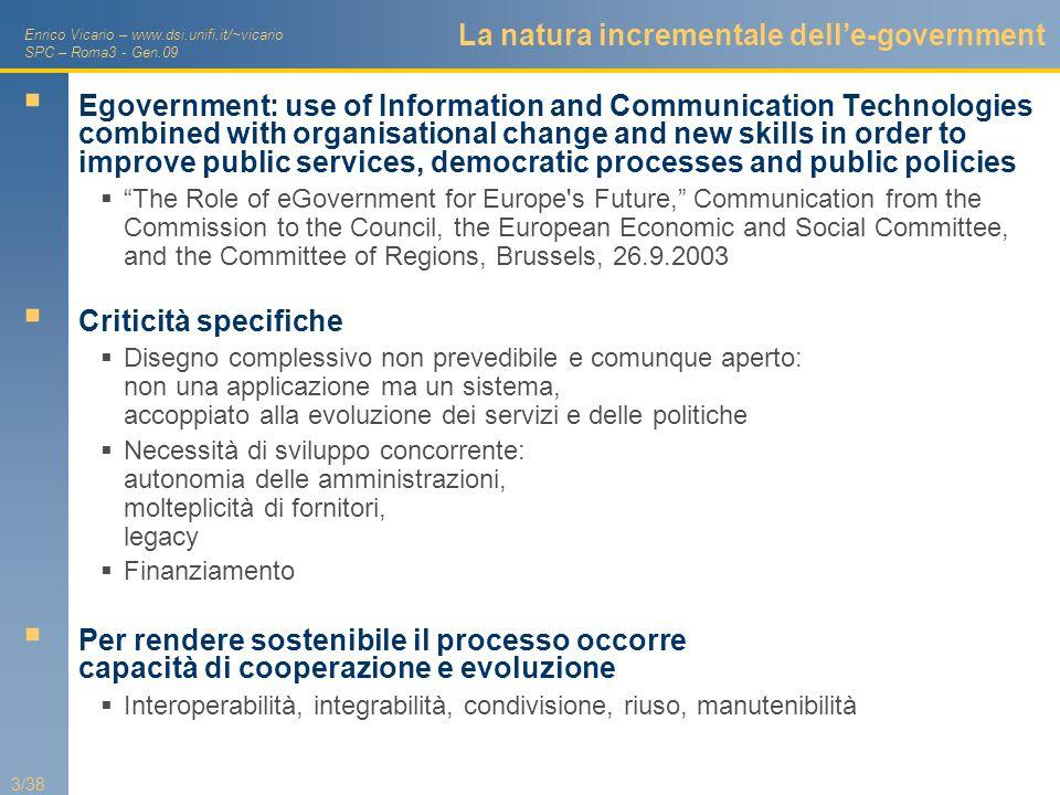 La natura incrementale dell'e-government