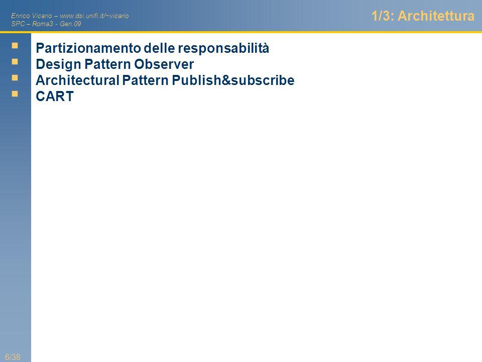 1/3: Architettura Partizionamento delle responsabilità. Design Pattern Observer. Architectural Pattern Publish&subscribe.