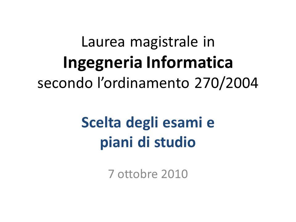 Laurea magistrale in Ingegneria Informatica secondo l'ordinamento 270/2004 Scelta degli esami e piani di studio