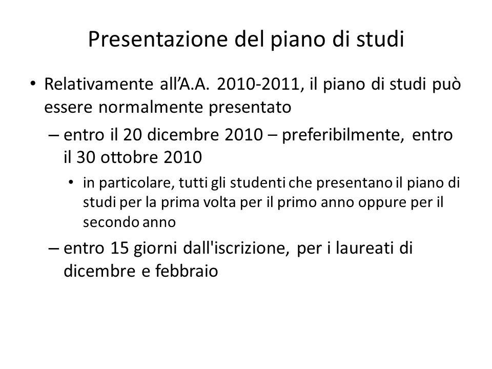 Presentazione del piano di studi