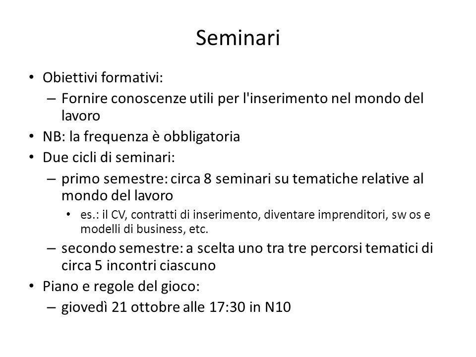 Seminari Obiettivi formativi: