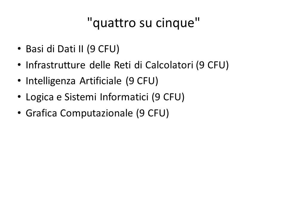 quattro su cinque Basi di Dati II (9 CFU)