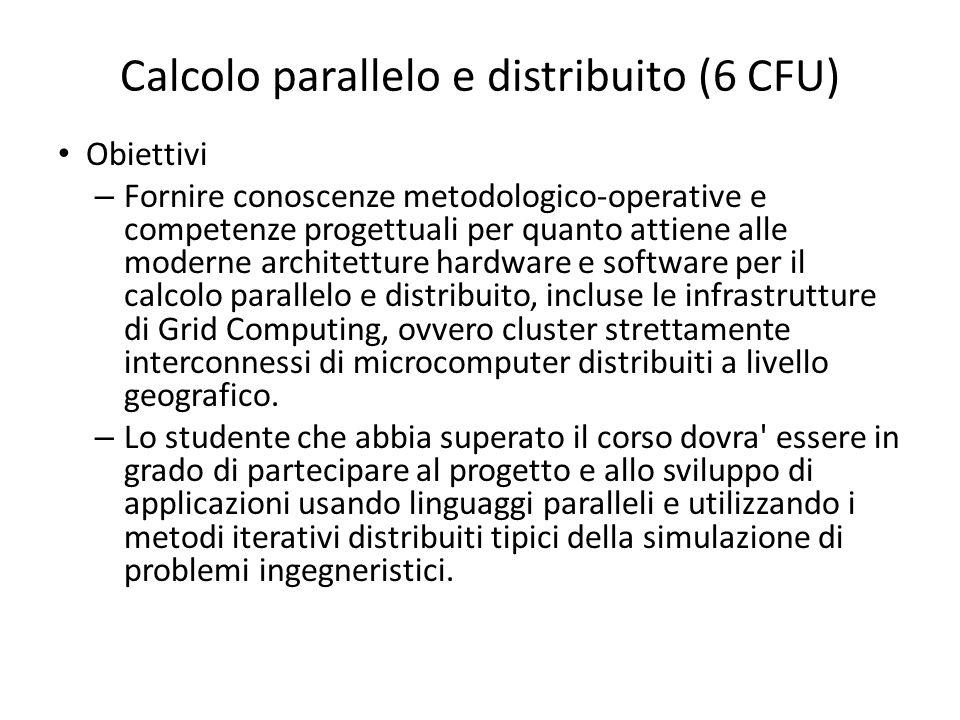 Calcolo parallelo e distribuito (6 CFU)