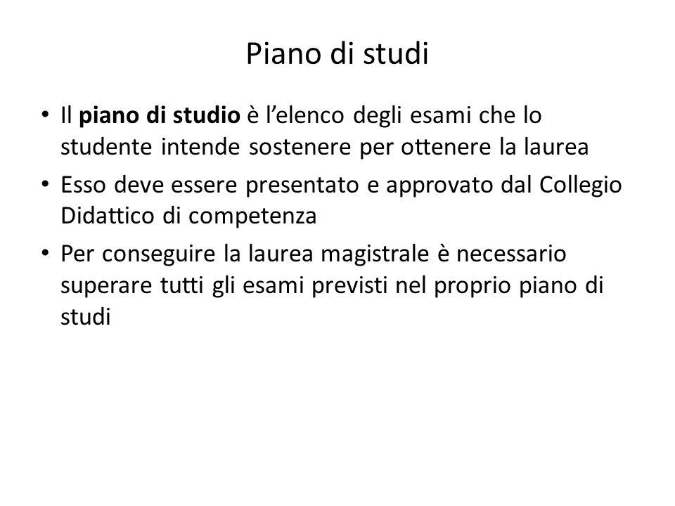 Piano di studi Il piano di studio è l'elenco degli esami che lo studente intende sostenere per ottenere la laurea.