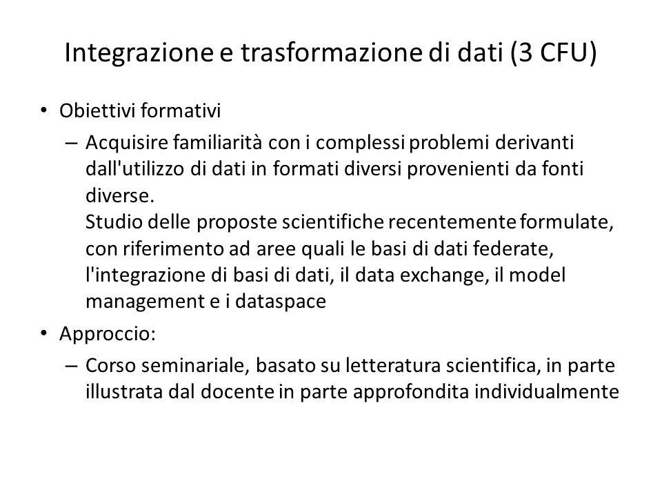 Integrazione e trasformazione di dati (3 CFU)
