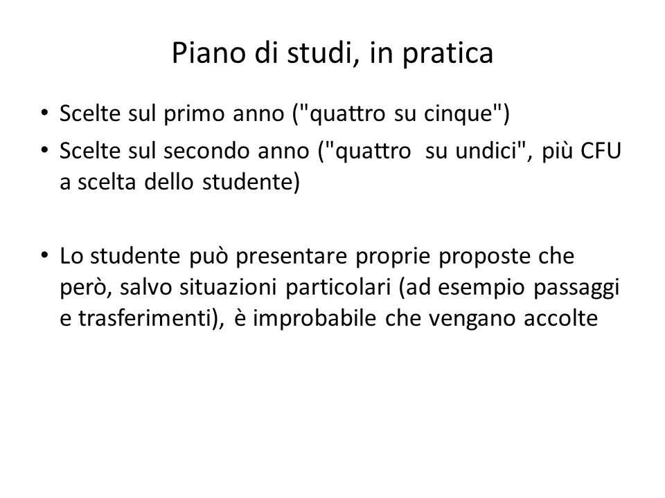 Piano di studi, in pratica